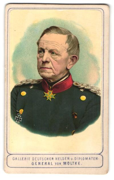 Fotografie Portrait General von Moltke in Uniform mit Orden Pour le Merite & Eisernes Kreuz