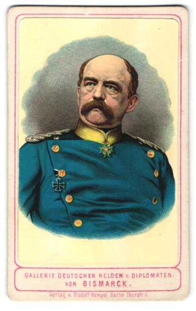 Fotografie Rudolf Hempel, Berlin, Portrait Otto von Bismarck in Uniform mit Orden Eisernes Kreuz & Pour le Merite