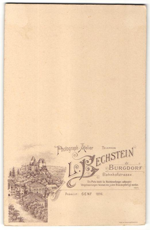 Fotografie L. Bechstein, Burgdorf, Ansicht Burgdorf, Ortsansicht mit Foto-Atelier in der Bahnhofstrasse