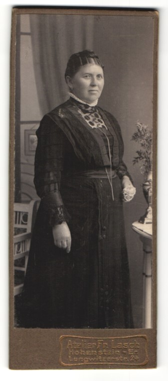 Fotografie Fr. Lasch, Hohenstein, Portrait charmante korpulente Dame im prachtvoll besticktem Kleid