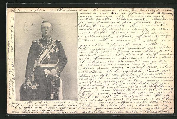 AK Herzog Hendrik Wladimir Albert Ernst von Mecklenburg Schwerin, Halbportrait in Uniform