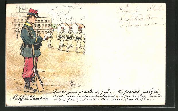 Künstler-AK Albert Guillaume: Soldat schreibt in sein Notizbuch