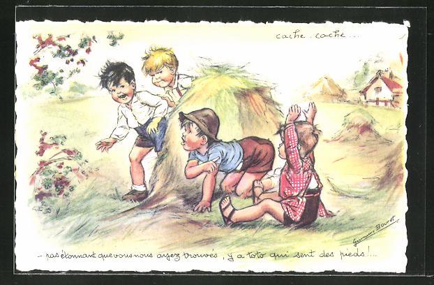 Künstler-AK Germaine Bouret: Jungen spielen Verstecken auf dem Feld