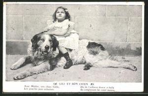 AK Mädchen sitzt auf ihrem Bernhardiner