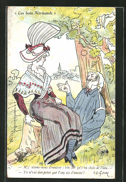 Künstler-AK sign. Galry: Junges Paar sitzt unter einem Baum