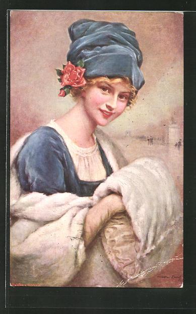 Künstler-AK sign. Martin-Kavel: Junge Frau mit blauem Hut und Pelzmuff,