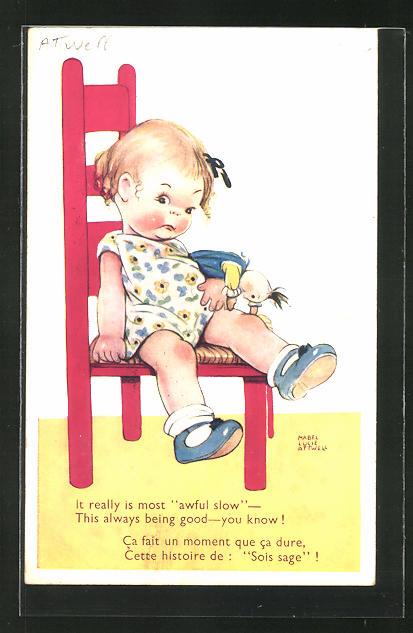 Künstler-AK Mabel Lucie Attwell: Kleines Mädchen sitzt mit seiner Puppe auf einem Stuhl