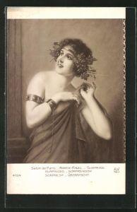 Künstler-AK sign. Martin-Kavel: Junge Dame mit Weintrauben und Weinlaub im Haar,