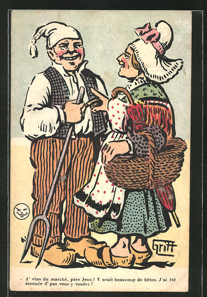 Künstler-AK Griff: Frau in einer Schürze mit Korb und Mann mit Spaten