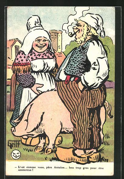 Künstler-AK Griff: Frau in einer Schürze und Bauer mit einem Schwein