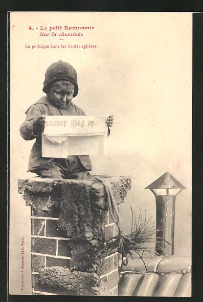 AK 4. Le Petit Ramoneur, Sur la cheminee, kleiner Schornsteinfeger mit Zeitung
