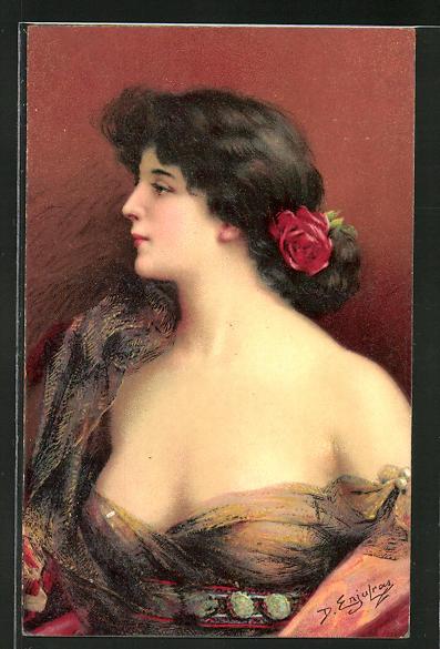 Künstler-AK Delphin Enjolras: Dame im transparenten Tüllkleid und Rose im Haar, Jugendstil