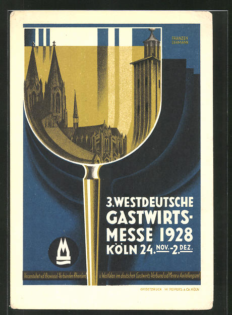 Künstler-AK Köln, 3. Westdeutsche Gastwirts-Messe 1928, Weinglas