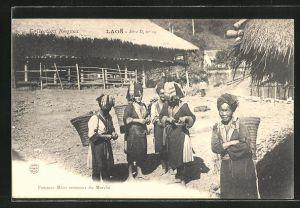 AK Laos, Femmes Méos revenant du Marché, Marktfrauen