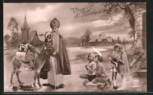 AK Vive St Nicolas, Nikolaus mit Packesel und Kinder, Montage