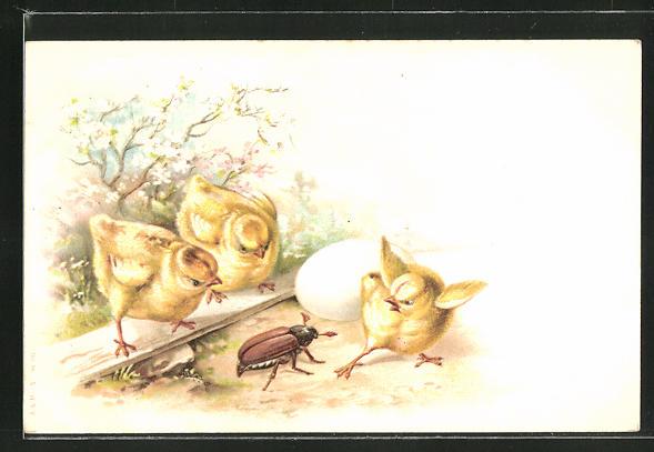 Lithographie Osterküken erschrecken vor Maikäfer