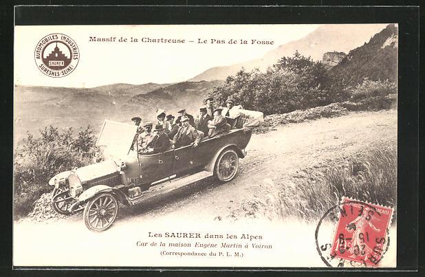 AK Les Saurer dans les Alpes, Car de la maison Eugène Martin à Voiron, Massif de la Chartreuse, Rundfahrt