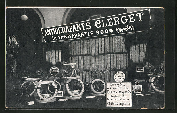 AK Reklame Antiderapants Clerget, les Seuls Carantis, Geschäft für Reifen