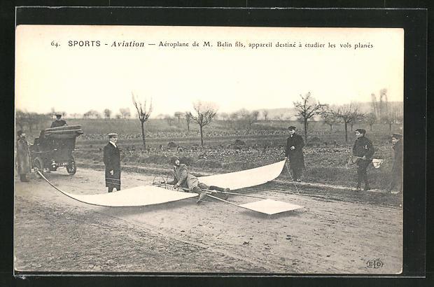 AK Aeroplane de M. Belin fils, apparail destine a etudier les vols planes, Segelflugzeug