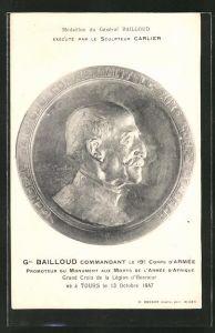 AK Medaillon du General Bailloud, execute par le Sculpteur Carlier