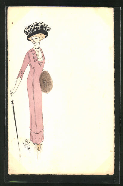 Künstler-AK Handgemalt: Elegante Dame mit Schirm und Muff, Jugendstil