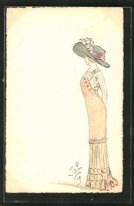 Künstler-AK Handgemalt: Elegante Dame mit Hut, Jugendstil