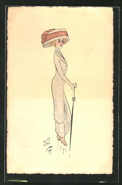 Künstler-AK Handgemalt: Mondäne Dame mit Hut und Schirm, Jugendstil