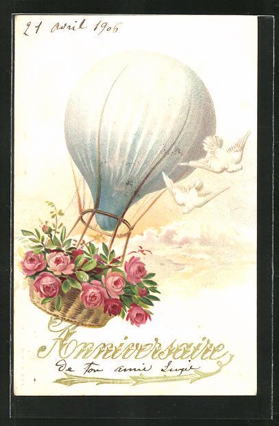 Lithographie Ballon mit Rosen im Korb
