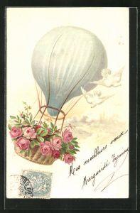 Lithographie Ballon mit Rosen im Korb und weissen Tauben