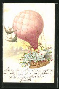 Lithographie Ballon mit Vergissmeinnicht und Liebesbrief