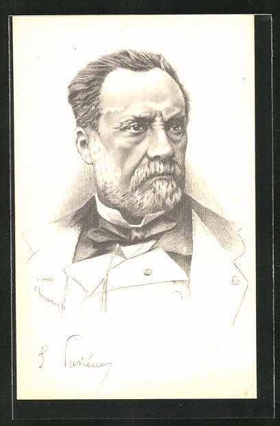Künstler-AK Portrait des Forschers Louis Pasteur (1822-1895)