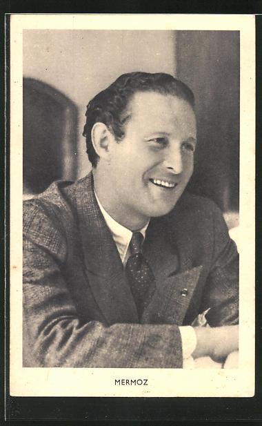 AK Portrait von Pilot Jean Mermoz im Anzug mit Krawatte