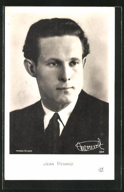 AK Portrait von Pilot Jean Mermoz im Anzug