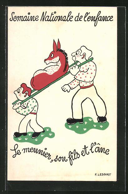 Künstler-AK sign. F. Lesourt: Le meunier, son fils et l'ane