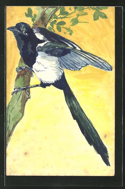 Künstler-AK Handgemalt: Vogel auf einem Ast