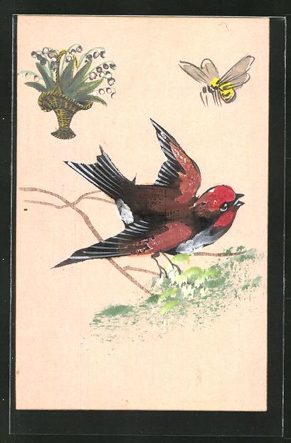 Künstler-AK Handgemalt: Vogel auf einem Zweig mit Schmetterling
