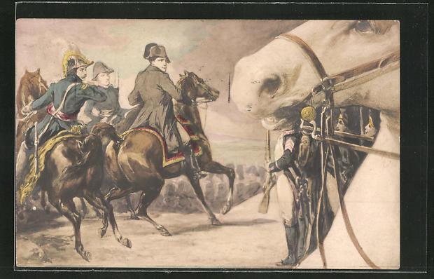 AK Napoleon auf einem Pferd im Gefecht