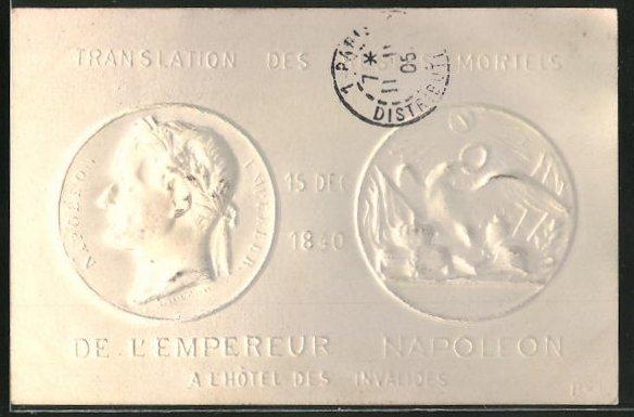 Präge-AK geprägte Münzen mit Bildnis von Napoleon