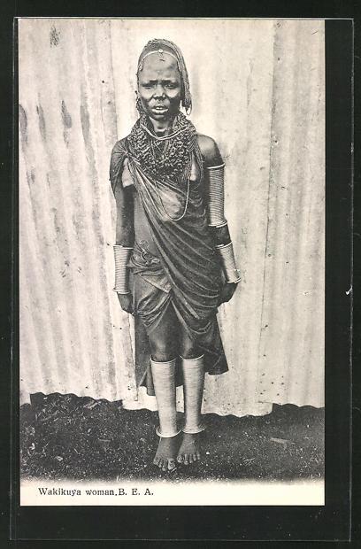 AK Wakikuya woman, afrikanische Frau im Gewand