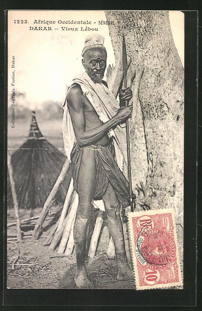 AK Dakar, Vieux Lebou, afrikanischer alter Mann im typischen Gewand