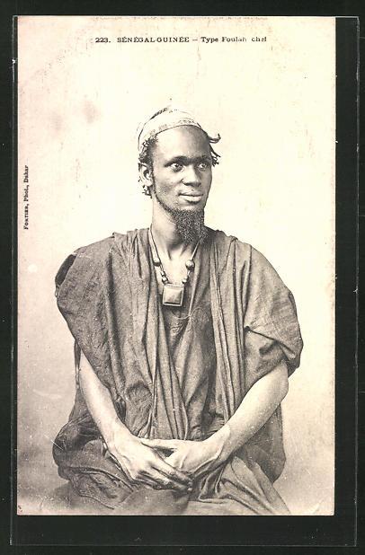 AK Senegal, Type Foulah chet, afrikanischer junger Mann im typischen Gewand