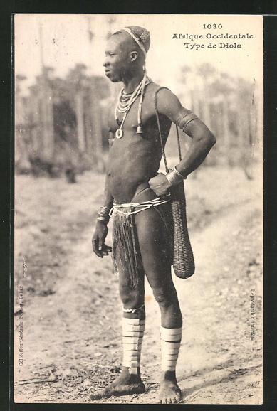 AK Type de Diola, afrikanischer junger Mann mit Beutel