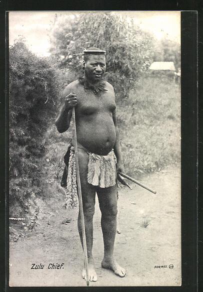 AK Zulu Chief, afrikanischer Mann mit Stock