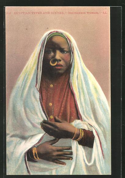 AK Soudanese Woman, afrikanische junge Frau im Gewand