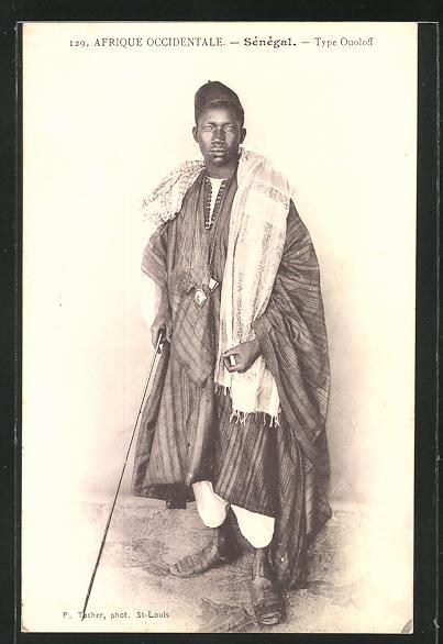 AK Senegal, Type Ouoloff, afrikanischer junger mann im Gewand