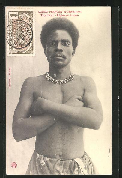 AK Loango, Type Bavili, afrikanischer junger Mann mit Halskette