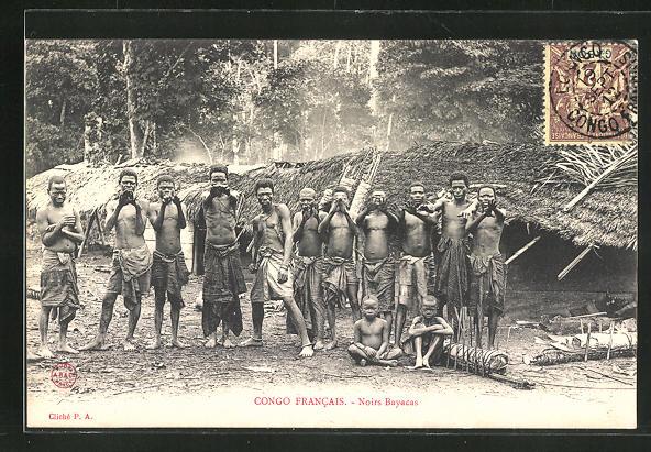 AK Congo Francais, Noirs Bayacas, Männer posieren für Kamera, afrikanische Volkstypen