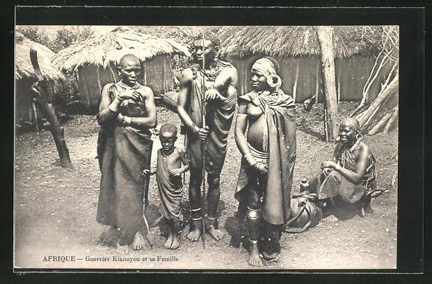 AK afrikanische Volkstypen, Guerrier Kikouyou et sa Famille
