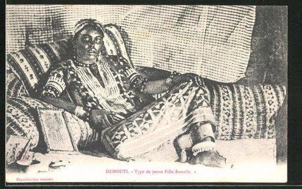AK Djibouti, Type de jeune fille Somalis, afrikanische Volkstypen