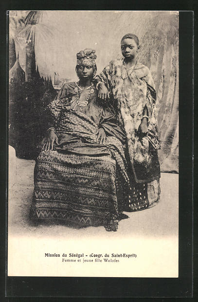 AK Senegal, Femme et jeune fille Wolofes, afrikanische Volkstypen